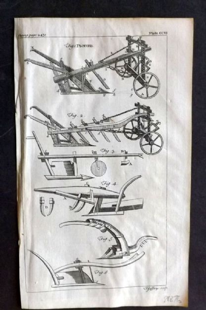 Dict. Of Arts & Sciences 1755 Antique Print. Ploughs, Agriculture